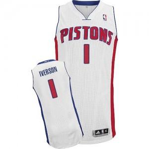 Maillot NBA Detroit Pistons #1 Allen Iverson Blanc Adidas Authentic Home - Homme