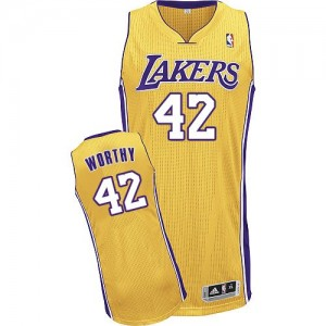 Los Angeles Lakers #42 Adidas Home Or Authentic Maillot d'équipe de NBA Braderie - James Worthy pour Homme