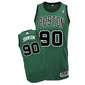 Maillot Adidas Vert (No. noir) Alternate Authentic Boston Celtics - Amir Johnson #90 - Homme