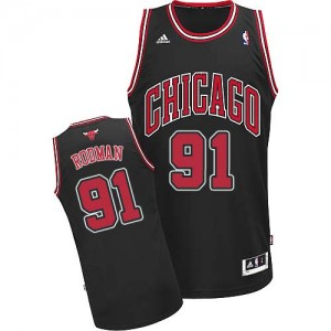 Maillot NBA Chicago Bulls #91 Dennis Rodman Noir Adidas Swingman Alternate - Homme
