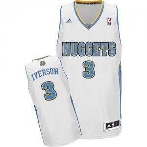 Denver Nuggets Allen Iverson #3 Home Swingman Maillot d'équipe de NBA - Blanc pour Homme