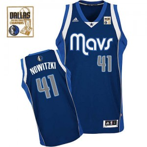 Dallas Mavericks #41 Adidas Alternate Champions Patch Bleu marin Swingman Maillot d'équipe de NBA magasin d'usine - Dirk Nowitzki pour Homme