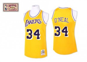 Maillot Authentic Los Angeles Lakers NBA Throwback Or - #34 Shaquille O'Neal - Homme