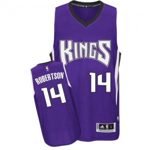 Maillot NBA Violet Oscar Robertson #14 Sacramento Kings Road Authentic Homme Adidas