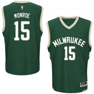Maillot NBA Authentic Greg Monroe #15 Milwaukee Bucks Road Vert - Homme