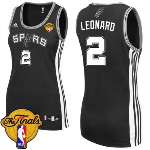 Maillot Adidas Noir Road Finals Patch Authentic San Antonio Spurs - Kawhi Leonard #2 - Femme