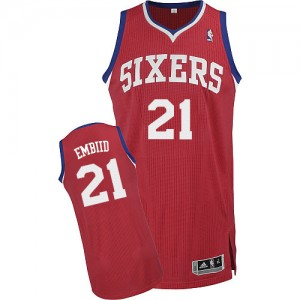 Maillot Adidas Rouge Road Authentic Philadelphia 76ers - Joel Embiid #21 - Homme