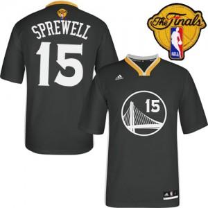 Golden State Warriors #15 Adidas Alternate 2015 The Finals Patch Noir Authentic Maillot d'équipe de NBA pas cher - Latrell Sprewell pour Homme