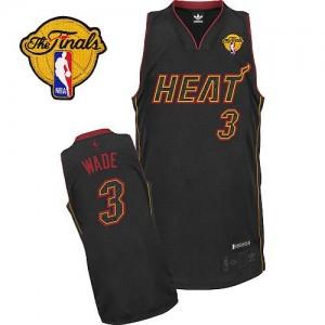 Maillot Adidas Fibre de carbone noire Fashion Finals Patch Authentic Miami Heat - Dwyane Wade #3 - Homme