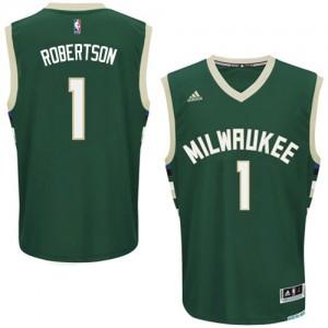 Maillot NBA Vert Oscar Robertson #1 Milwaukee Bucks Road Swingman Homme Adidas