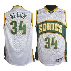 Oklahoma City Thunder #34 Adidas SuperSonics Blanc Authentic Maillot d'équipe de NBA prix d'usine en ligne - Ray Allen pour Homme