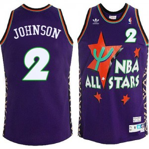 Charlotte Hornets Larry Johnson #2 Throwback 1995 All Star Authentic Maillot d'équipe de NBA - Violet pour Homme