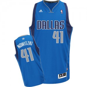 Dallas Mavericks #41 Adidas Road Bleu royal Swingman Maillot d'équipe de NBA Promotions - Dirk Nowitzki pour Homme