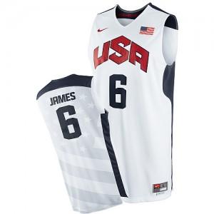Team USA #6 Nike 2012 Olympics Blanc Authentic Maillot d'équipe de NBA Discount - LeBron James pour Homme