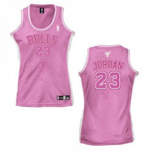 Maillot NBA Chicago Bulls #23 Michael Jordan Rose Adidas Authentic Fashion - Femme