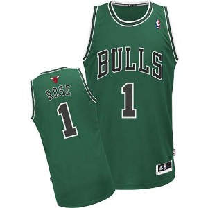 Maillot NBA Vert Derrick Rose #1 Chicago Bulls Authentic Homme Adidas