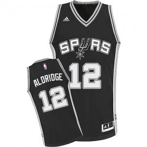 San Antonio Spurs LaMarcus Aldridge #12 Road Swingman Maillot d'équipe de NBA - Noir pour Enfants