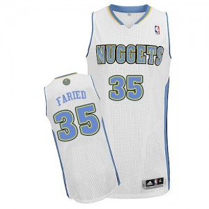 Maillot NBA Denver Nuggets #35 Kenneth Faried Blanc Adidas Authentic Home - Homme