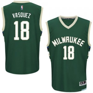 Maillot NBA Authentic Greivis Vasquez #18 Milwaukee Bucks Road Vert - Homme