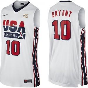 Maillot NBA Blanc Kobe Bryant #10 Team USA 2012 Olympic Retro Authentic Homme Nike