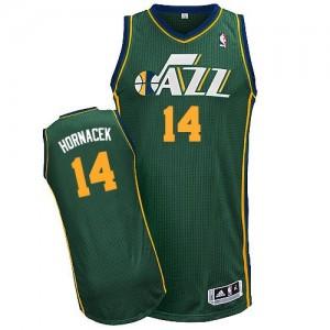 Maillot NBA Utah Jazz #14 Jeff Hornacek Vert Adidas Authentic Alternate - Homme