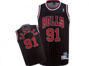 Maillot NBA Chicago Bulls #91 Dennis Rodman Noir Rouge Nike Authentic Throwback - Homme