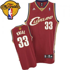 Maillot NBA Cleveland Cavaliers #33 Shaquille O'Neal Rouge Adidas Swingman Throwback 2015 The Finals Patch - Homme