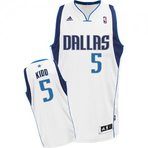 Maillot Swingman Dallas Mavericks NBA Home Blanc - #5 Jason Kidd - Homme