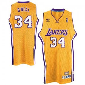 Maillot Swingman Los Angeles Lakers NBA Throwback Or - #34 Shaquille O'Neal - Homme