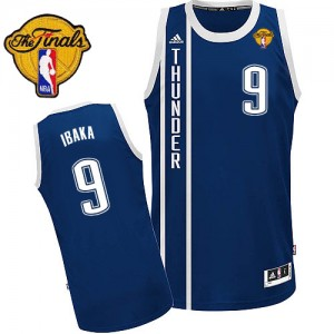Maillot Adidas Bleu marin Alternate Finals Patch Swingman Oklahoma City Thunder - Serge Ibaka #9 - Homme