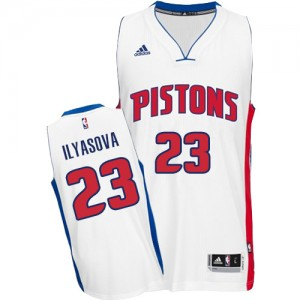 Maillot NBA Blanc Ersan Ilyasova #23 Detroit Pistons Home Swingman Homme Adidas