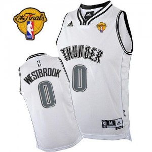 Maillot Swingman Oklahoma City Thunder NBA Finals Patch Blanc - #0 Russell Westbrook - Homme