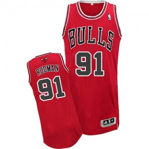 Maillot NBA Chicago Bulls #91 Dennis Rodman Rouge Adidas Authentic Road - Homme