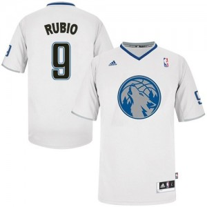 Minnesota Timberwolves #9 Adidas 2013 Christmas Day Blanc Swingman Maillot d'équipe de NBA Le meilleur cadeau - Ricky Rubio pour Homme