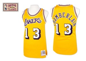 Maillot Mitchell and Ness Or Throwback Authentic Los Angeles Lakers - Wilt Chamberlain #13 - Homme