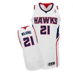 Atlanta Hawks #21 Adidas Home Blanc Authentic Maillot d'équipe de NBA la vente - Dominique Wilkins pour Homme