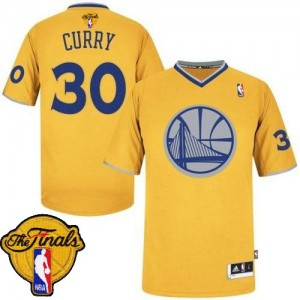 Golden State Warriors Stephen Curry #30 2013 Christmas Day 2015 The Finals Patch Authentic Maillot d'équipe de NBA - Or pour Homme