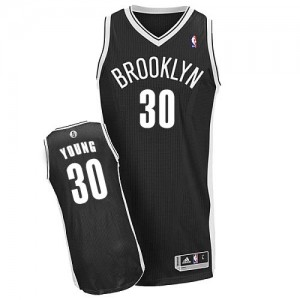 Maillot Authentic Brooklyn Nets NBA Road Noir - #30 Thaddeus Young - Homme