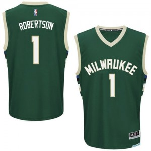 Maillot NBA Vert Oscar Robertson #1 Milwaukee Bucks Road Authentic Homme Adidas