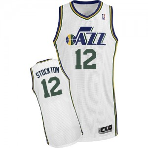 Maillot NBA Blanc John Stockton #12 Utah Jazz Home Authentic Homme Adidas