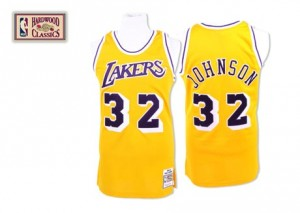 Los Angeles Lakers #32 Mitchell and Ness Throwback Or Swingman Maillot d'équipe de NBA Vente - Magic Johnson pour Homme