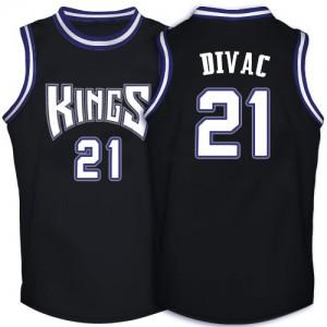 Maillot NBA Noir Vlade Divac #21 Sacramento Kings Throwback Authentic Homme Adidas