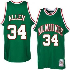 Maillot NBA Vert Ray Allen #34 Milwaukee Bucks Throwback Authentic Homme Adidas