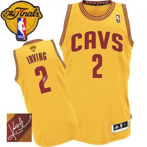 Maillot NBA Authentic Kyrie Irving #2 Cleveland Cavaliers Alternate Autographed 2015 The Finals Patch Or - Homme