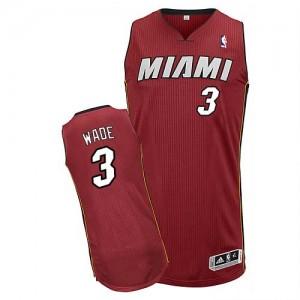 Miami Heat Dwyane Wade #3 Alternate Authentic Maillot d'équipe de NBA - Rouge pour Homme