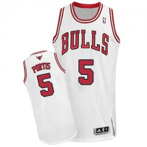 Maillot NBA Chicago Bulls #5 Bobby Portis Blanc Adidas Authentic Home - Homme