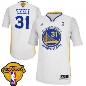 Maillot NBA Authentic Festus Ezeli #31 Golden State Warriors Alternate 2015 The Finals Patch Blanc - Homme