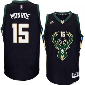 Maillot NBA Authentic Greg Monroe #15 Milwaukee Bucks Alternate Noir - Homme