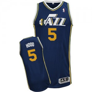 Maillot NBA Authentic Rodney Hood #5 Utah Jazz Road Bleu marin - Homme