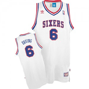 Philadelphia 76ers Julius Erving #6 Throwack Authentic Maillot d'équipe de NBA - Blanc pour Homme